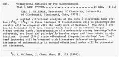 Thumbnail of VIBRATIONAL ANALYSIS OF THE FLUOROBENZENE 2644 {\AA} BAND SYSTEM
