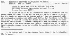 Thumbnail of ELECTRONIC STRUCTURE CALCULATIONS FOR METHYL NITRATE: THE $a^{3} A'$ STATE