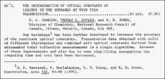 Thumbnail of THE DETERMINATION OF OPTICAL CONSTANTS OF LIQUIDS IN THE INFRARED BY THIN FILM TRANSMISSION