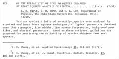 Thumbnail of ON THE RELIABILITY OF LINE PARAMETERS OBTAINED BY LEAST SQUARES ANALYSIS OF SPECTRA