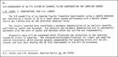 Thumbnail of S/N ENHANCEMENT OF AN FTS SYSTEM BY DYNAMIC FILTER COMPENSATION FOR SAMPLING ERRORS