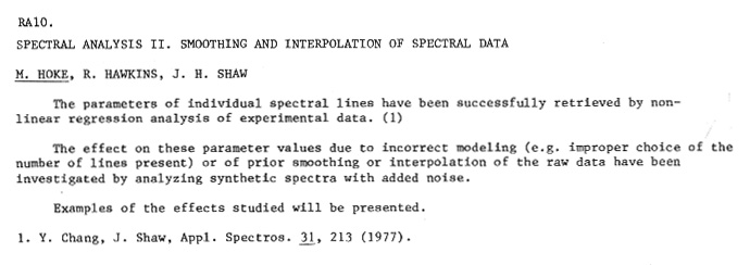 SPECTRAL ANALYSIS II  SMOOTHING AND INTERPOLATION OF SPECTRAL DATA