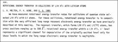 Thumbnail of ROTATIONAL ENERGY TRANSFER IN COLLISIONS OF LiH $A^{1}\Sigma$ WITH LITHIUM ATOMS