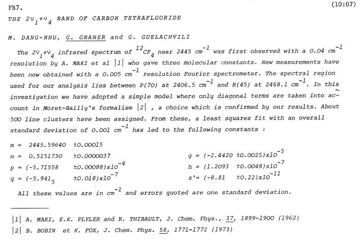 THE $2\nu_{1} + \nu_{4}$ BAND OF CARBON TETRAFLUORIDE
