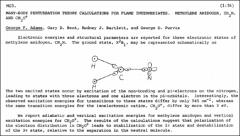 Thumbnail of MANY-BODY PERTURBATION THEORY CALCULATIONS FOR FLAME INTERMEDIATES. METHYLENE AMIDOGEN, $CH_{2}N$, AND $CH_{2}O^{+}$