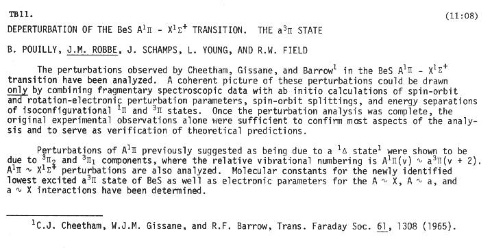 ... Thumbnail of DEPERTURBATION OF THE BeS $A^{1}\pi -X