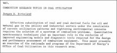Thumbnail of COMBUSTION RESEARCH TOPICS IN COAL UTILIZATION