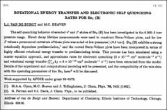 Thumbnail of ROTATIONAL ENERGY TRANSFER AND ELECTRONIC SELF QUENCHING RATES FOR $Br_{2}$ (B)