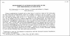 Thumbnail of MEASUREMENT OF AUTOIONIZATION RATES IN THE NON-PENETRATING 4F STATE OF NO