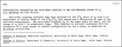 Thumbnail of CONFIGURATION INTERACTION AND SPIN-ORBIT COUPLING IN THE FOX-HERZBERG SYSTEM OF $C_{2}$