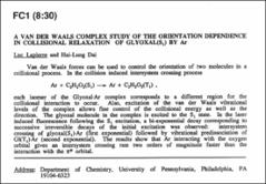 Thumbnail of A VAN DER WAALS COMPLEX STUDY OF THE ORIENTATION DEPENDENCE IN COLLISIONAL RELAXATION OF GLYOXAL($S_{1}$) BY Ar