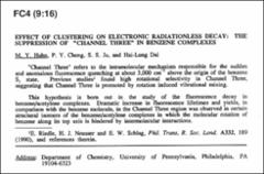 Thumbnail of EFFECT OF CLUSTERING ON ELECTRONIC RADIATIONLESS DECAY: THE SUPPRESSION OF ``CHANNEL THREE'' IN BENZENE COMPLEXES