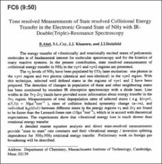 Thumbnail of Time resolved Measurements of State resolved Collisional Energy Transfer in the Electronic Ground State of $NH_{3}$ with IR-Double (Triple)-Resonance Spectroscopy