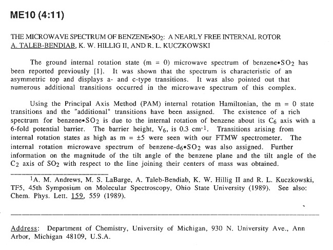 THE MICROWAVE SPECTRUM OF BENZENE$\bullet SO_{2}$: A NEARLY