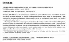Thumbnail of THE BENDING STATES ASSOCIATED WITH THE EXCITED STRETCHING STATES $\nu_{1}$, $\nu_{2}$, $\nu_{3}$ AND $\nu_{2} + \nu_{3}$ OF HCNO