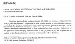 Thumbnail of LASER EXCITATION SPECTROSCOPY OF ZINC AND CADMIUM CYCLOPENTADIENIDES