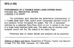 Thumbnail of PERFORMANCE OF A TUNABLE DIODE LASER SYSTEM WHICH UTILIZES ALL REFLECTIVE OPTICS
