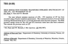 Thumbnail of HIGH RESOLUTION FOURIER TRANSFORM INFRARED SPECTROSCOPY OF THE $A^{2}\Pi_{1} - X^{2}\sum$ TRANSITION OF CP.