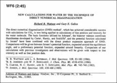 Thumbnail of NEW CALCULATIONS FOR WATER BY THE TECHNIQUE OF DIRECT NUMERICAL DIAGONALIZATION