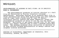Thumbnail of PHOTOCHEMISTRY OF ACETONE ON NACL FILMS: AN IR ANALYSIS