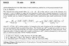 Thumbnail of APPROXIMATIONS FOR THE ZERO-POINT INERTIAL DEFECTS OF PLANAR MOLECULES