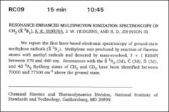Thumbnail of RESONANCE-ENHANCED MULTIPHOTON IONIZATION SPECTROSCOPY OF $CH_{2}$ ($\tilde{X}^{3}B_{1}$)