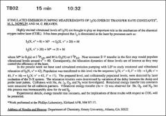 Thumbnail of STIMULATED EMISSION PUMPING MEASUREMENTS OF $I_{2}$(X) ENERGY TRANSFER RATE $CONSTANT^{*}$