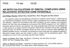 Thumbnail of AB INITIO CALCULATIONS OF DIMETAL COMPLEXES USING RELATIVISTIC EFFECTIVE CORE POTENTIALS