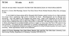 Thumbnail of USE OF AN ExB WIEN VELOCITY FILTER FOR THE DETECTION OF PHOTOFRAGMENTS
