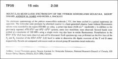 Thumbnail of MOLECULAR BEAM LASER SPECTROSCOPY OF THE YTTRIUM MONOSULFIDE MOLECULE