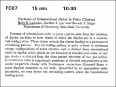 Thumbnail of Patterns of Orientational Order in Polar Clusters