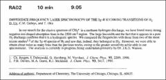 Thumbnail of DIFFERENCE FREQUENCY LASER SPECTROSOCPY OF THE 5g-4f RYDBERG TRANSITIONS OF $H_{2}$