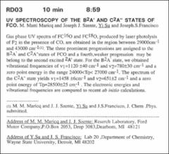 Thumbnail of UV SPECTROSCOPY OF THE $B^{2}A'$ AND $C^{2}A'$ STATES OF FCO.