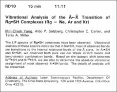 Thumbnail of Vibrational Analysis of the $\tilde{A}\leftarrow \tilde{X}$ transition of $Rg\bullet $SH Complexes (Rg = Ne, Ar and Kr)