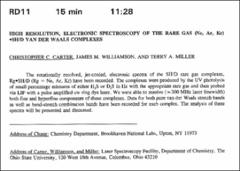 Thumbnail of HIGH RESOLUTION, ELECTRONIC SPECTROSCOPY OF THE RARE GAS (Ne, Ar, Kr) $\bullet$SH/D VAN DER WAALS COMPLEXES