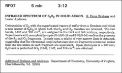 Thumbnail of INFRARED SPECTRUM OF $S_{2}O_{2}$ IN SOLID ARGON.