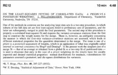 Thumbnail of ON THE LEAST-SQUARES FITTING OF CORRELATED DATA:  A PRIORI VS A POSTERIORI WEIGHTING