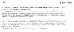 Thumbnail of INTERCAVITY LASER ABSORPTION SPECTROMETER BASED ON YAG: $CR_{4}^{+}$ LASER FOR 1340 - 1680 nm SPECTRAL REGION