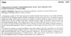 Thumbnail of VIBRATIONAL ENERGY REDISTRIBUTION (IVR): NEW MODELS AND COMPUTATIONAL APPROACHES
