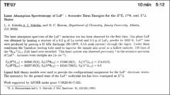 Thumbnail of Laser Absorption Spectroscopy of $LaF^{+}$: Accurate Term Energies for the $H^{2}\Pi$, $D^{2}\Phi$, and $X^{2}\Delta$ States