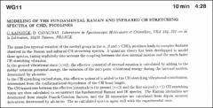 Thumbnail of MODELING OF THE FUNDAMENTAL RAMAN AND INFRARED CH STRETCHING SPECTRA OF $CHD_{2}$ PICOLINES
