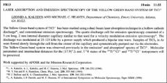 Thumbnail of LASER ABSORPTION AND EMISSION SPECTROSCOPY OF THE YELLOW GREEN BAND SYSTEM OF $TiCl^{+}$
