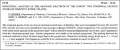 Thumbnail of ROTATIONAL ANALYSIS OF THE MM-WAVE SPECTRUM OF THE LOWEST TWO TORSIONAL EXCITED STATES OF DIMETHYL ETHER, $CH_{3}$ $OCH_{3}$