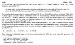 Thumbnail of EXPERIMENTAL DETERMINATION OF INFRARED TRANSITION DIPOLE MOMENTS FOR HNC FROM HERMAN-WALLIS EFFECT