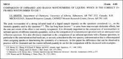Thumbnail of COMPARISON OF INFRARED AND RAMAN WAVENUMBERS OF LIQUIDS: WHICH IS THE CORRECT INFRARED WAVENUMBER TO USE?