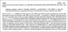 Thumbnail of ZERO ELECTRON KINETIC ENERGY PULSED FIELD IONIZATION (ZEKE) SPECTROSCOPY OF $CdCH_{3}$ AND