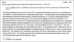 Thumbnail of NEGATIVE ION PHOTOELECTRON SPECTROSCOPY OF $AI_{3}O^{-}$ AND $AI_{4}O^{-}$