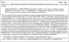 Thumbnail of AIR-AND $N_{2}$ – BROADENING COEFFICIENTS AND PRESSURE SHIFT COEFFICIENTS IN THE $^{12}C^{16}O_{2}$ LASER BANDS