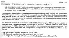 Thumbnail of SPECTROSCOPY OF THE $O_{2}(b^{1}\Sigma^{+}_{g}-X^{3}\sigma^{-}_{g})$ ATMOSPHERIC BAND SYSTEM TO $v' =7$