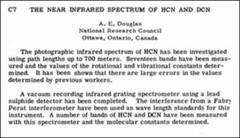 Thumbnail of THE NEAR INFRARED SPECTRUM OF HCN AND DCN